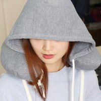 Neck Pillow Solid Gray Nap Soft Particle Pillow Hooded Cotton U-Airplane Pillow Home Textile Travel Pillow Car Accessories