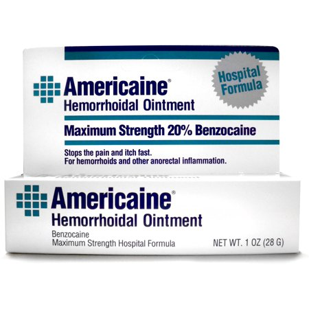 2 Pack - Americaine Hemorrhoidal Ointment Maximum Strength 20% Benzocaine 1 oz Hemorrhoidal Ointment Tube