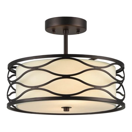 (CHLOE Lighting GWEN Transitional 2 Light Rubbed Bronze Semi-flush Ceiling Fixture 13