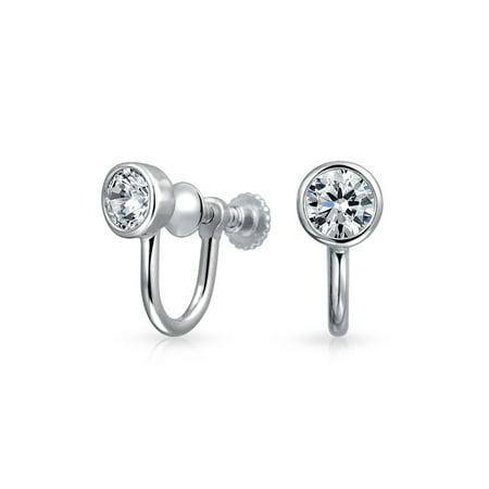 Minimalist Geometric Round Solitaire Bezel Cubic Zirconia CZ Screwback Clip On Stud Earrings For Women Sterling