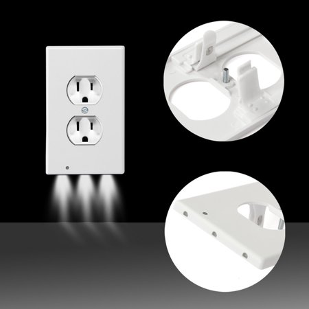 LED Wall Outlet GuideLight by Dazone- Safety Power Outlet Wall Cover With LED Night Lights, Easy Snap On Outlet Cover (Magnetic Power Plate)
