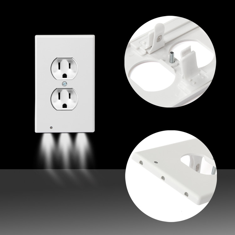 LED Wall Outlet GuideLight by Dazone- Safety Power Outlet Wall Cover With LED Night Lights, Easy Snap On Outlet Cover Plate