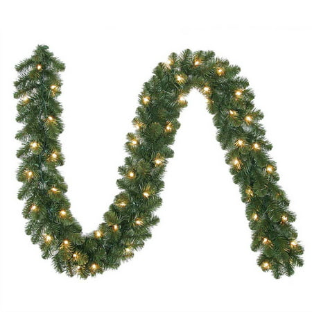 Pine Swag Garland (Holiday Time 9 Ft. Pre-Lit Madison Pine Artificial Christmas Garland, Clear Lights)