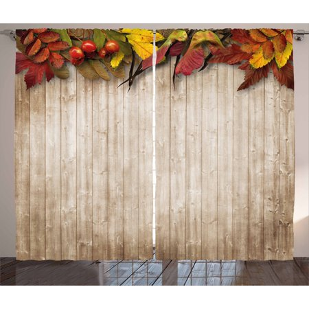 Fall Curtains 2 Panels Set, Autumn Leaves and Berries Border on Vintage Wooden Background Botanical Vivid Print, Window Drapes for Living Room Bedroom, 108W X 96L Inches, Multicolor, by (Autumn Leaves Border)