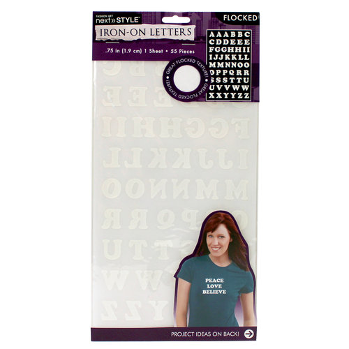 "Next Style Iron-On 3/4"" Flocked Letters, Cooper White"