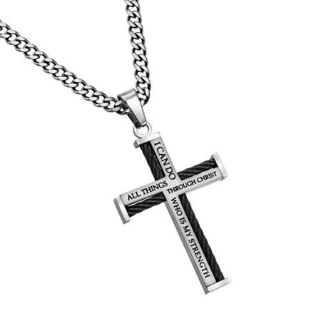 North Arrow Shop PHILIPPIANS 4:13 Steel Cable Cross Necklace for Men with Thick Chain - Boys Cross Necklaces