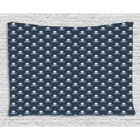 Pirates Tapestry, Jolly Roger Pattern in Classic Nautical Colors Dangerous Halloween Character, Wall Hanging for Bedroom Living Room Dorm Decor, 60W X 40L Inches, Dark Blue White, by Ambesonne (Characters For Halloween)