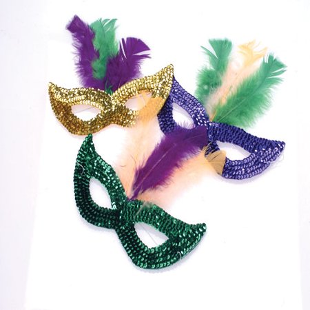 Feather Boas By The Dozen (MARDI GRAS SEQUIN MASKS WITH BOA FEATHERS, SOLD BY 5)