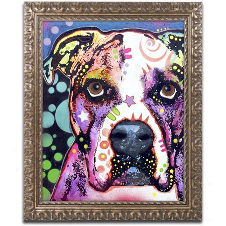 Trademark Fine Art  American Bulldog Ii  Canvas Art By Dean Russo  Gold Ornate Frame