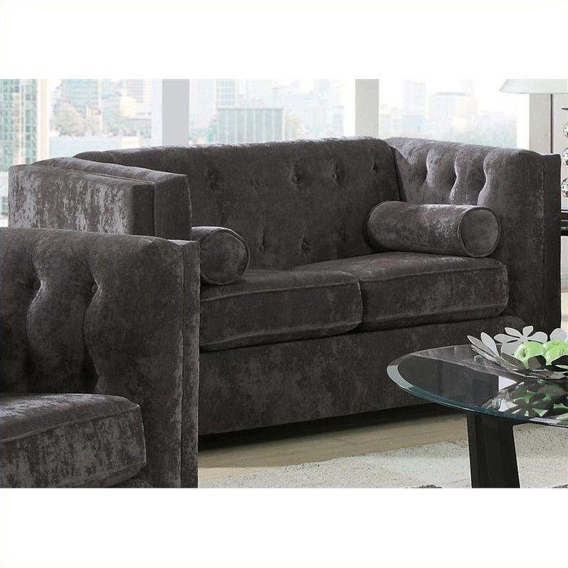 Coaster Company Alexis Loveseat, Charcoal Chenille