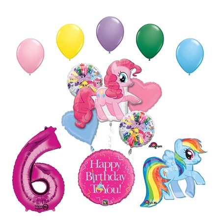 My Little Pony Pinkie Pie and Rainbow Dash 6th Birthday Party Supplies and Balloon Decorations, (1) 38 inch Pinkie Pie and (1) 28 inch Rainbow Dash Foil.., By Mayflower Products
