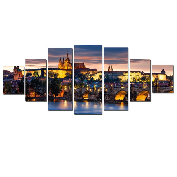 Startonight Huge Canvas Wall Art Prague Castle From Old Town, USA Large Home Decor, Dual View Surprise Artwork Modern Framed Wall Art Set of 7 Panels Total 39.37 x 94.49 inch