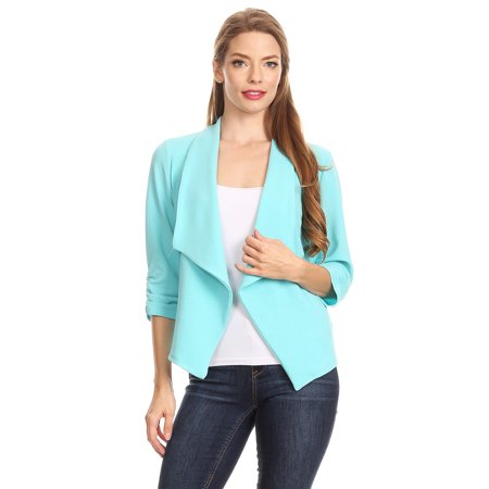 Women's Solid Printed Open Blazer Cardigan Jacket MADE IN - Velvet Green Blazer