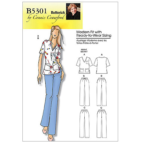 Butterick Pattern Misses' and Women's Top and Pants, Women (XXL, 1X, 2X, 3X, 4X, 5X, 6X)