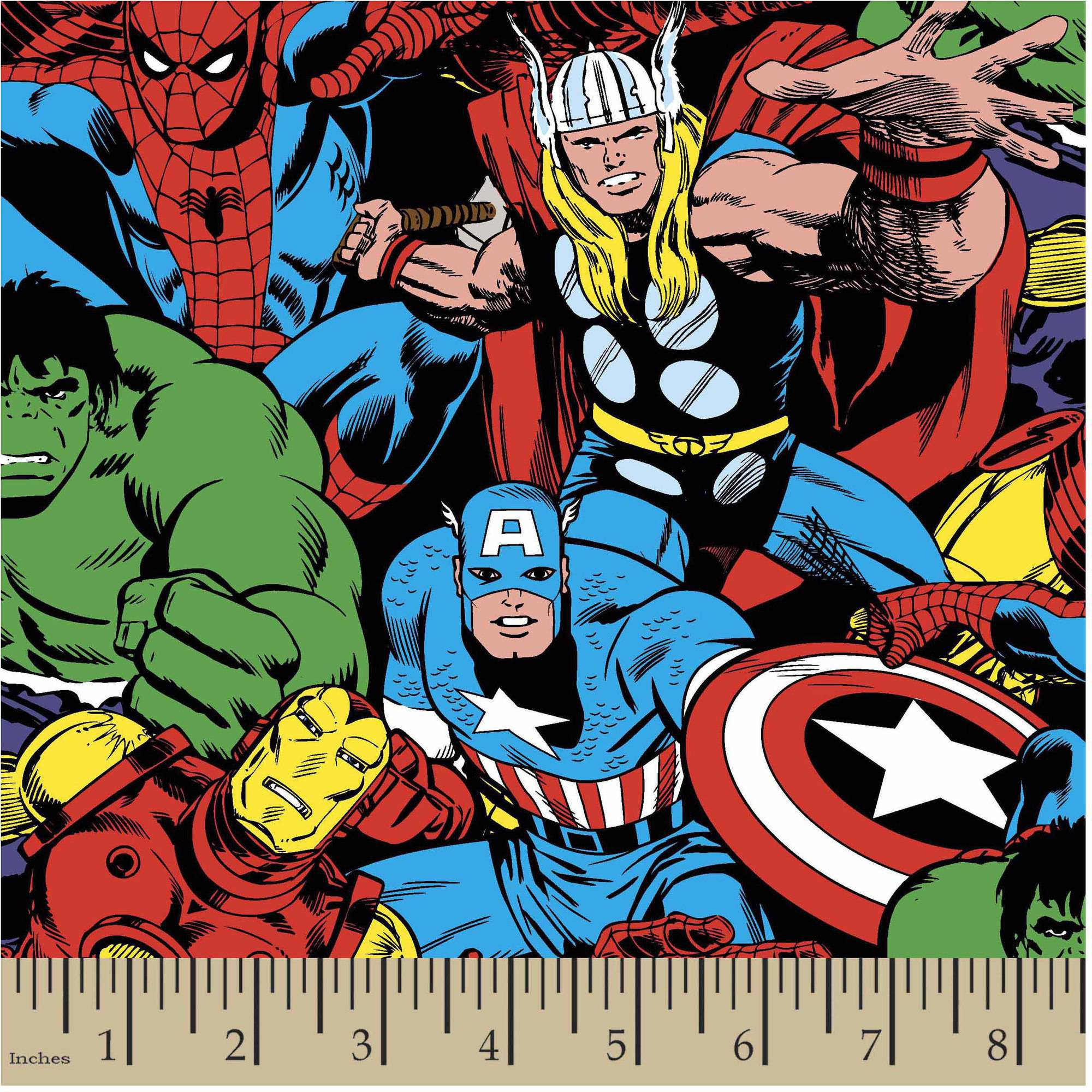 "Marvel Comic Pack, Red, Cotton, 43/44"" Width, Fabric by the Yard"