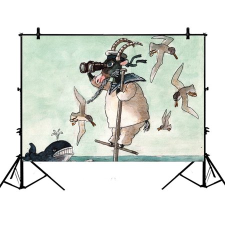 YKCG 7x5ft Funny Animals Sailor Goats Whale in Ocean Photography Backdrops Polyester Photography Props Studio Photo Booth Props - Sailor Props