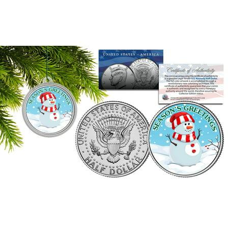 SEANSONS GREETINGS Snowman JFK Kennedy Half Dollar Coin Christmas Tree