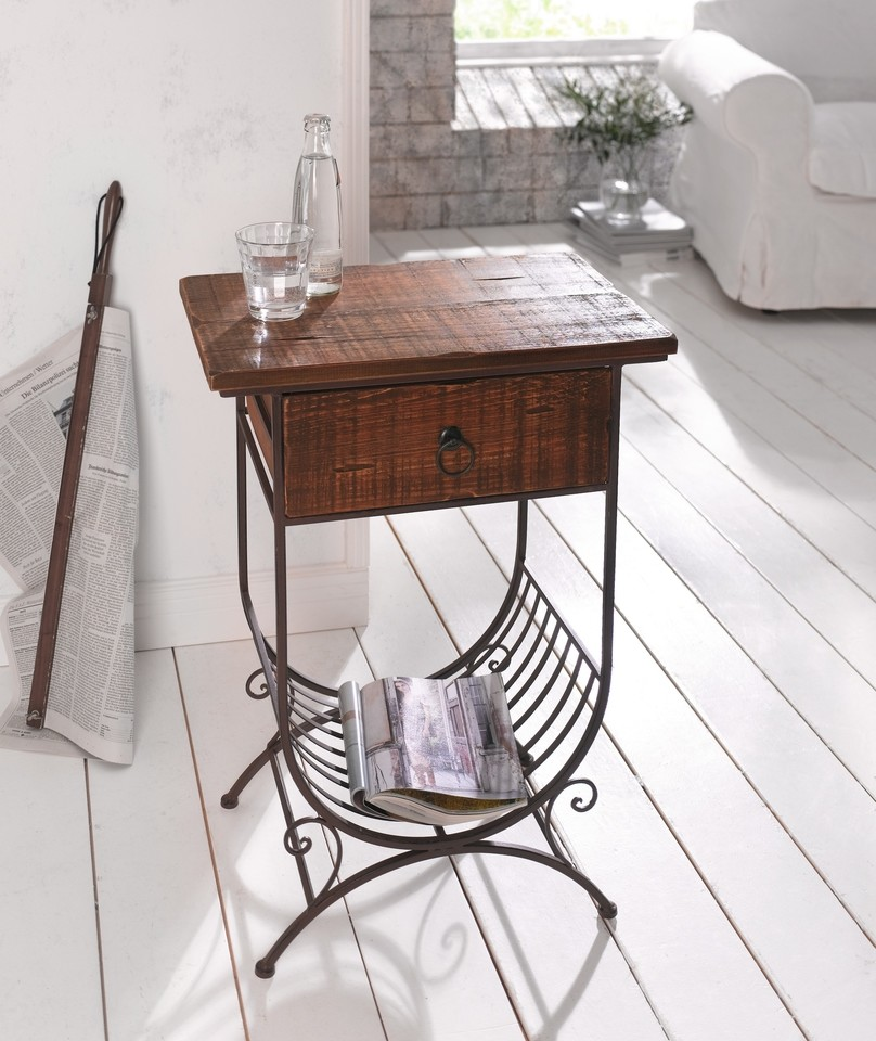 Accent Side Table w  Wooden Top   Drawer and Metal Bottom Magazine Rack by Kozy Life
