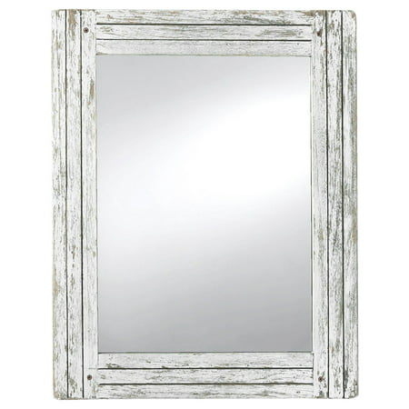 Foreside Home and Garden Rustic White Wash Wood Heartland Mirror Francisco Wood Mirror