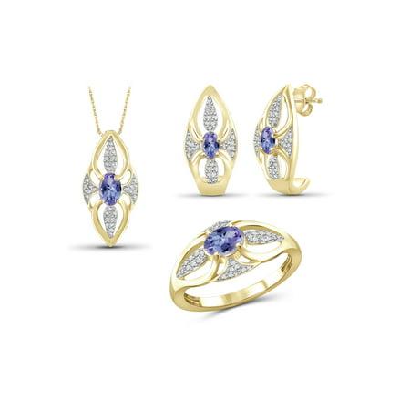 Diamond Tanzanite Jewelry Set - 1 1/3 Carat T.G.W. Tanzanite And White Diamond Accent 14k Gold Over Silver 3-Piece Jewelry set