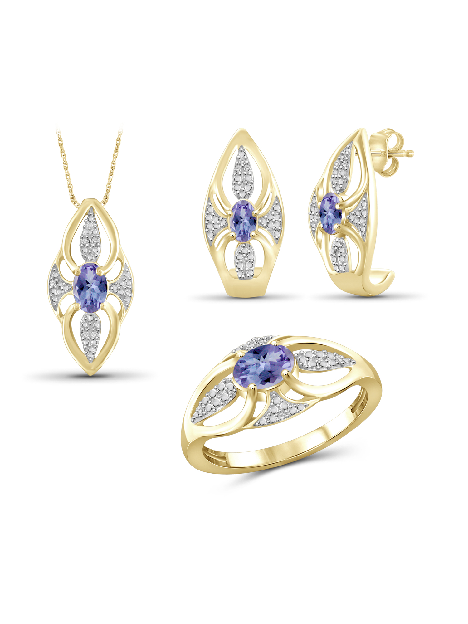 1 1/3 Carat T.G.W. Tanzanite And White Diamond Accent 14k Gold Over Silver 3-Piece Jewelry set