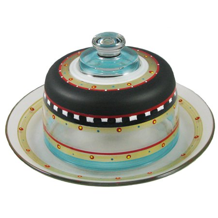 Metal Mosaic Plates - Mosaic Chalkboard & Stripes Hand Painted Glass Cheese Dome with Plate 6