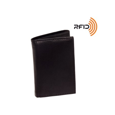 Men's Top Grain Cowhide Leather RFID Trifold Billfold Wallet