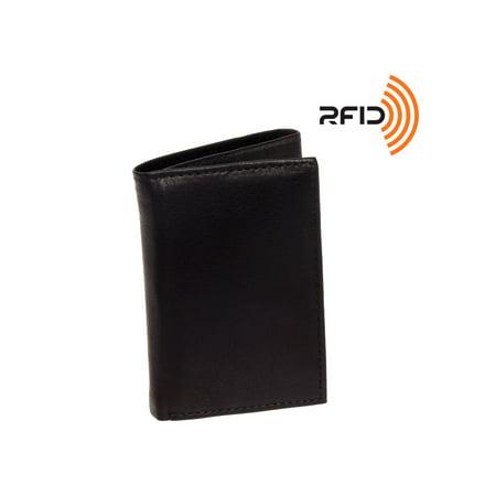 Men's Top Grain Cowhide Leather RFID Trifold Billfold Wallet ()