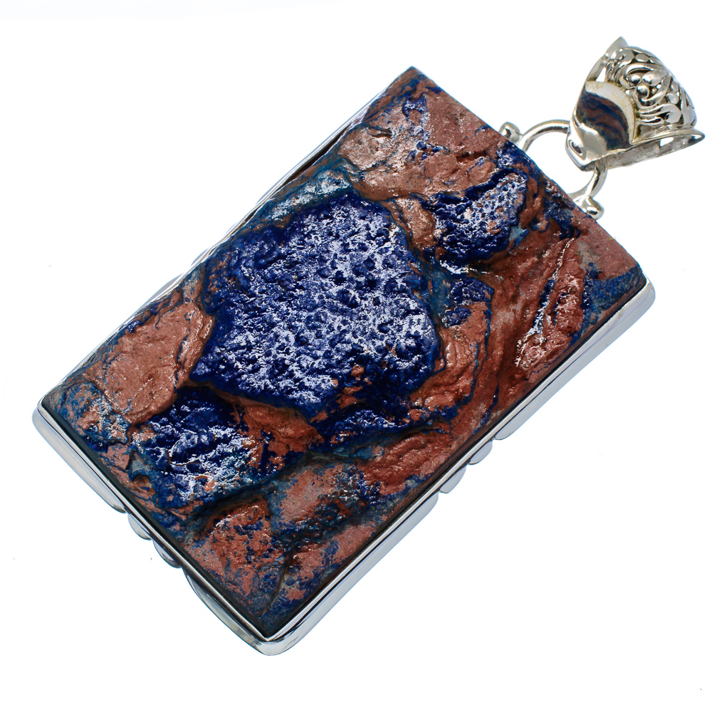 "Ana Silver Co Gigantic Rough Azurite 925 Sterling Silver Pendant 2 1/2"" - Handmade Jewelry PD555292"