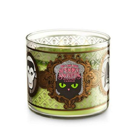 Bath & Body Works Spooky Sweets Caramel Pumpkin Swirl with Glitter Lid 3-Wick Candle By Bath Body (Pumpkin Spiced Cheesecake Bath And Body Works)