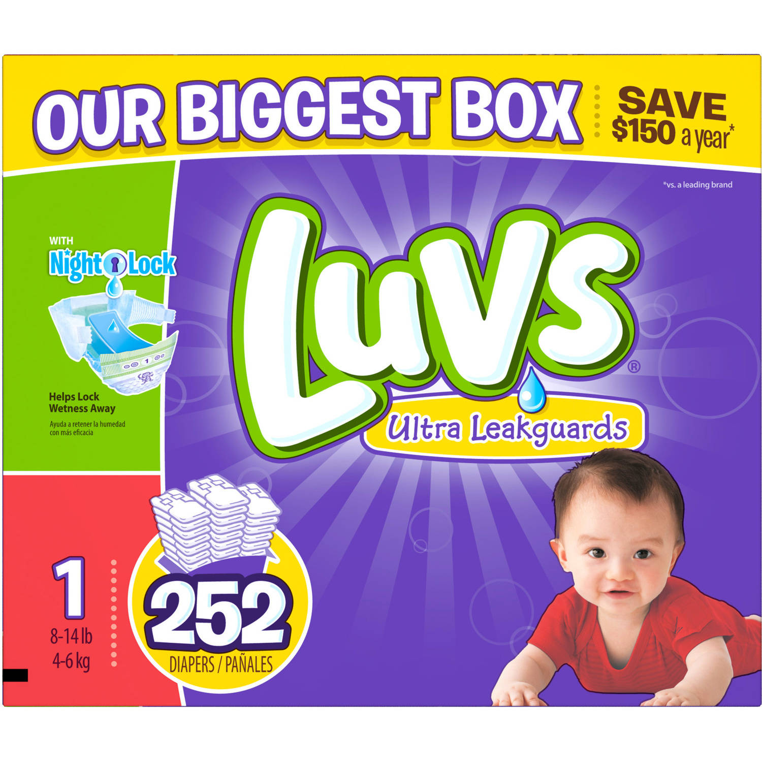 Luvs Ultra Leakguards Diapers, Size 1(Choose Diaper Count)