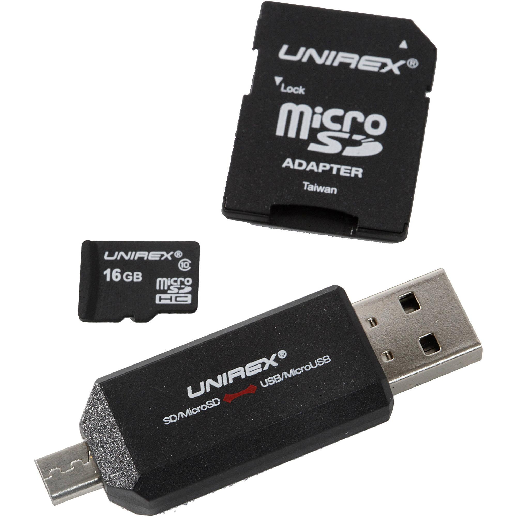 Unirex microSD 16GB Class 4 with USB/microUSB Reader