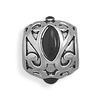 Oxidized Sterling Silver Story Bead Charm With Black Onyx Stones The Story Bead Is 9mm