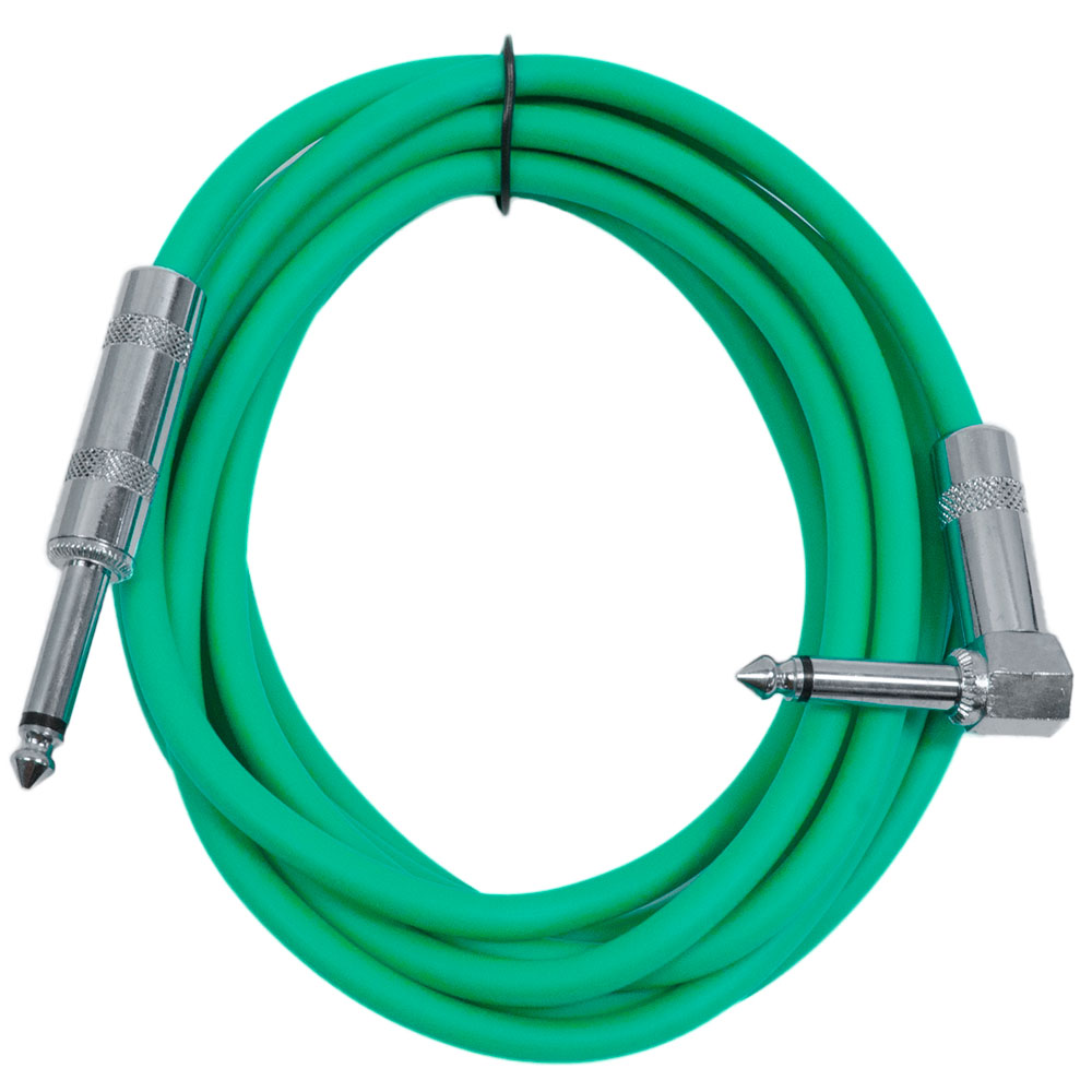 "Seismic Audio  - 10' Green Guitar Cable TS 1/4"" to Right Angle - Instrument Cord - SAGC10R-Green"