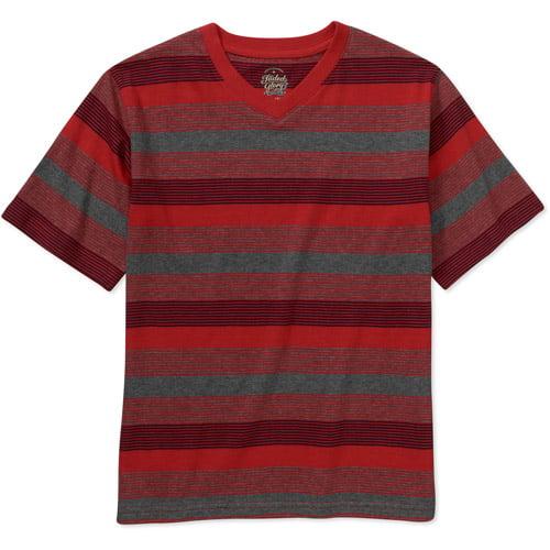 Faded Glory Boys' Short Sleeve V-Neck Stripe Tee