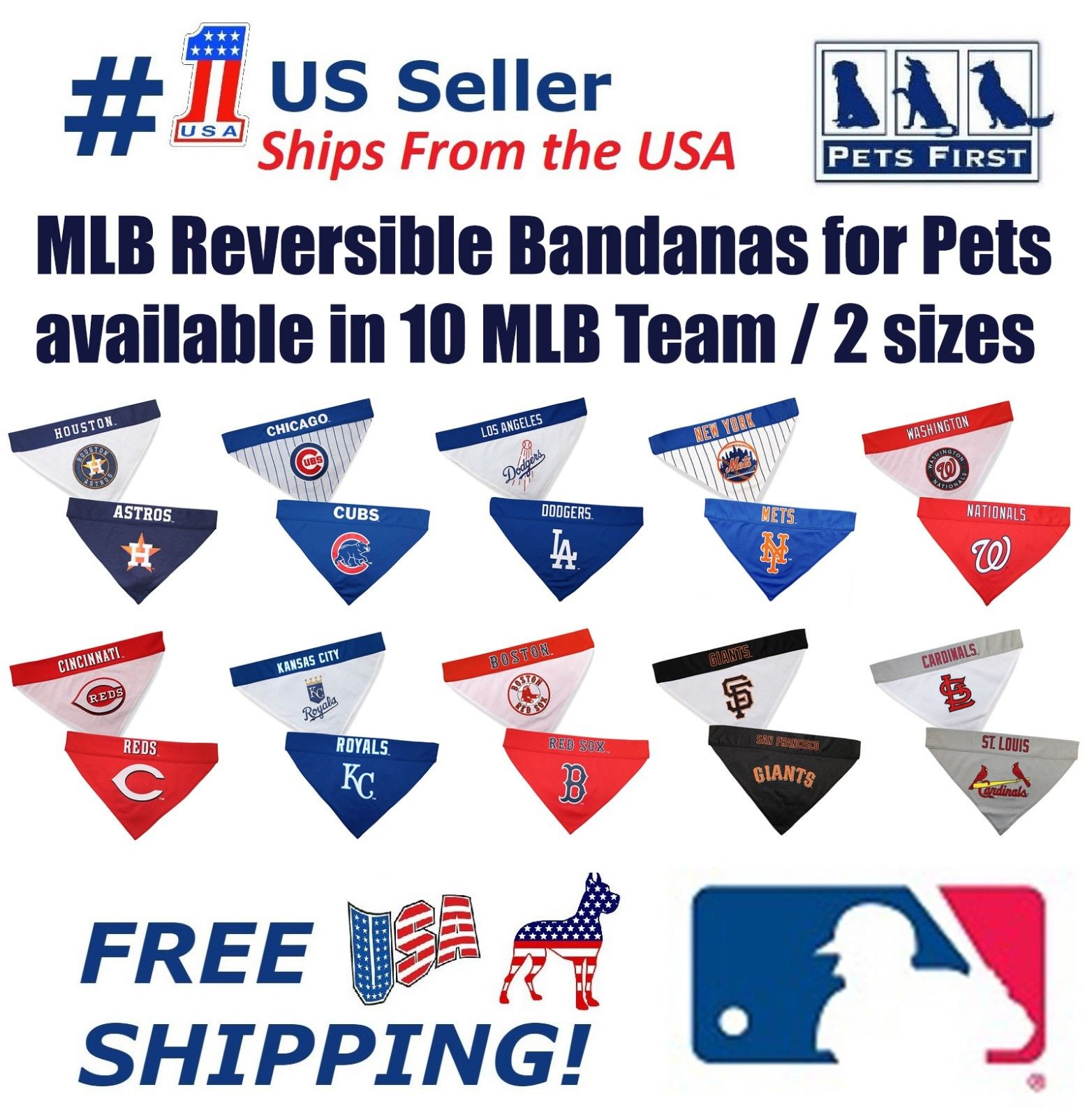 Pets First MLB Baltimore Orioles Reversible Bandana - Dual-Sided Bandana for Cats & Dogs