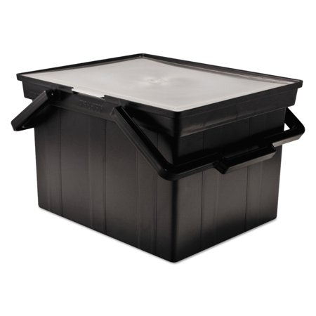 - Advantus Companion Portable File Storage Box, Legal/Letter, Plastic, Black -AVTTLF2B