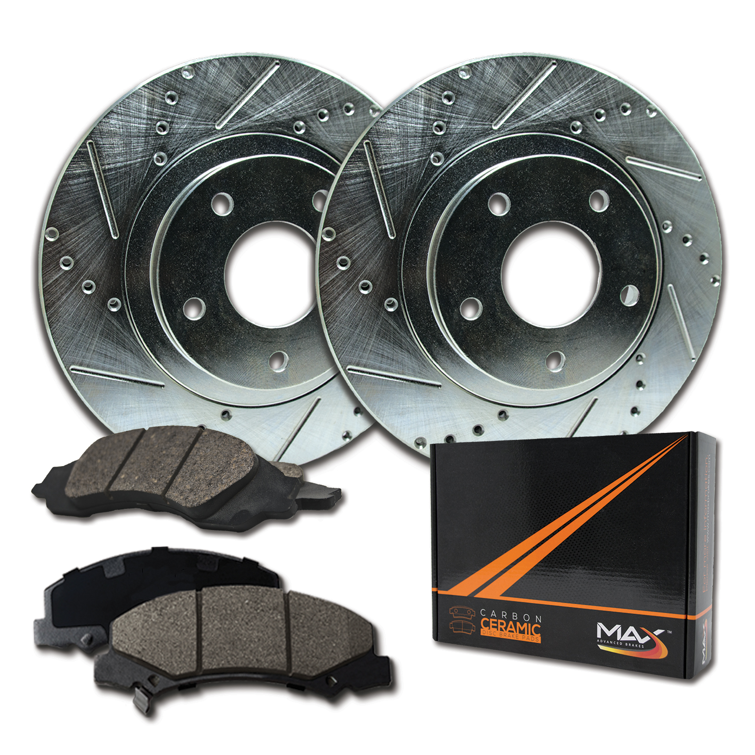 Max Brakes Front /& Rear Performance Brake Kit KT065733 Fits: 2005 05 2006 06 Cadillac CTS w// FE1 Soft Ride Suspension; Non CTS-V Models Premium Slotted Drilled Rotors + Ceramic Pads