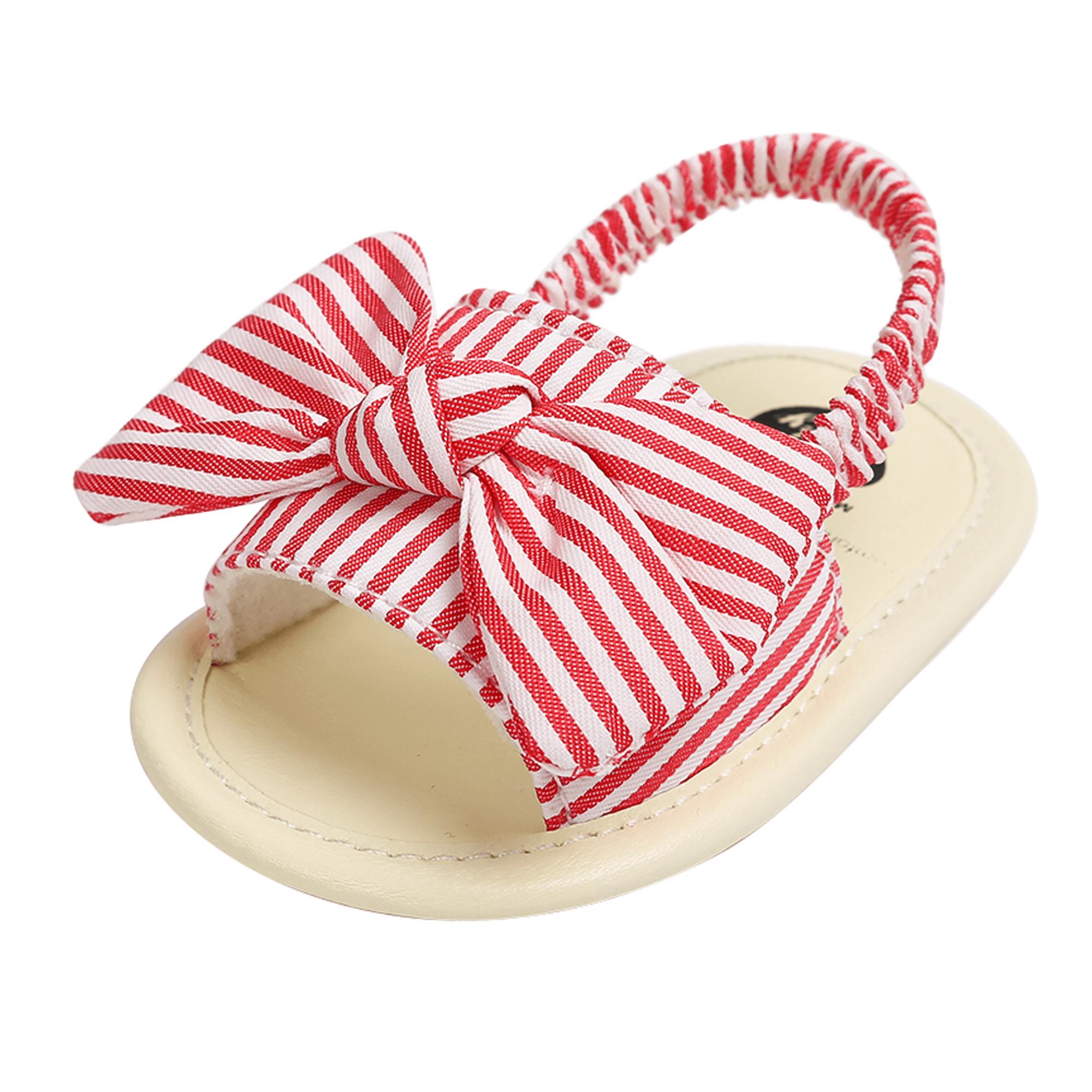 Baby Sandals Stirped Lattice Shoes