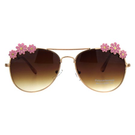 Kids Size Girls Daisy Metal Jewel Trim Officer Style Pilots Sunglasses Gold Pink Brown