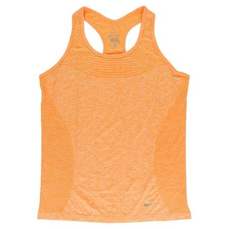 Nike Women's Dri Fit Knit Running Tank Top Light Orange L