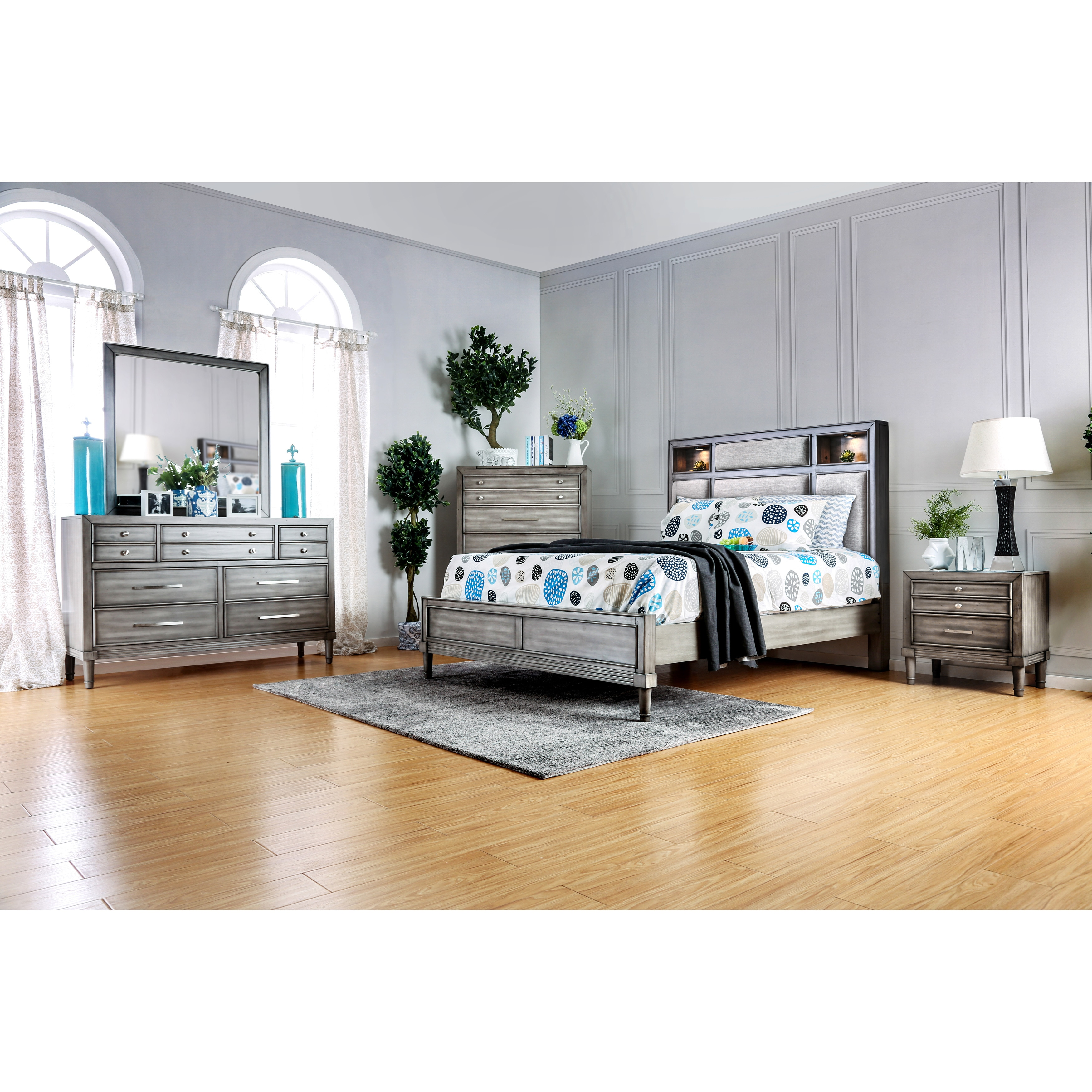Furniture of america braysen transitional 4 piece bookcase - Bedroom furniture bookcase headboard ...
