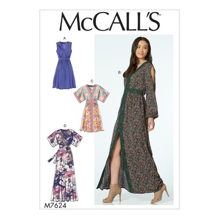 McCall's Sewing Pattern Misses' Banded Gathered Dresses with Sleeve and Length - Mccalls Fabric Patterns