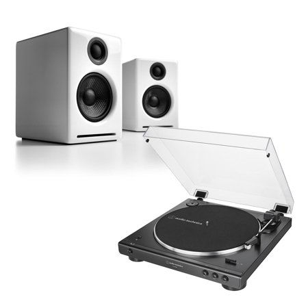 Audioengine A2+ Wireless White with Audio Technica AT-LP60XBT Black  Turntable