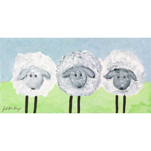 Judith Raye Paintings LLC Three Sheep by Judith Raye Painting Print