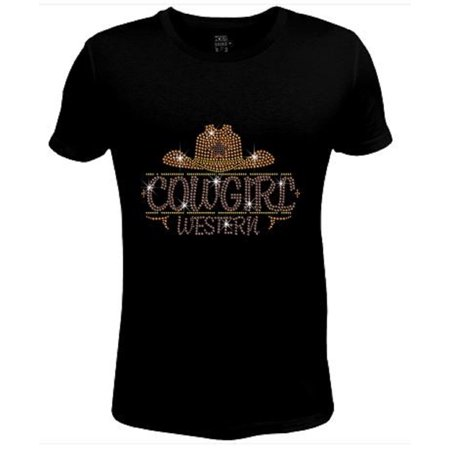 - Bling Rhinestone Womens T Shirt Western Cowgirl Hat  JRW-528-SC