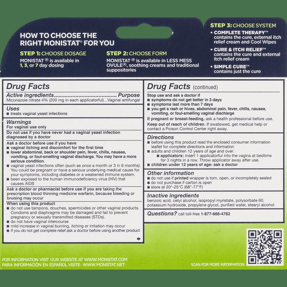 Monistat 3 Simple Cure Vaginal Antifungal Cream Walmart