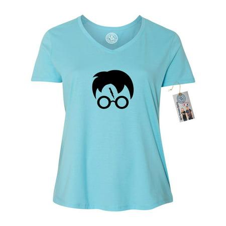 Plus Size Harry Potter Shirt (Harry Potter Movie Popular Symbols Head Plus Size Womens VNeck Shirt)