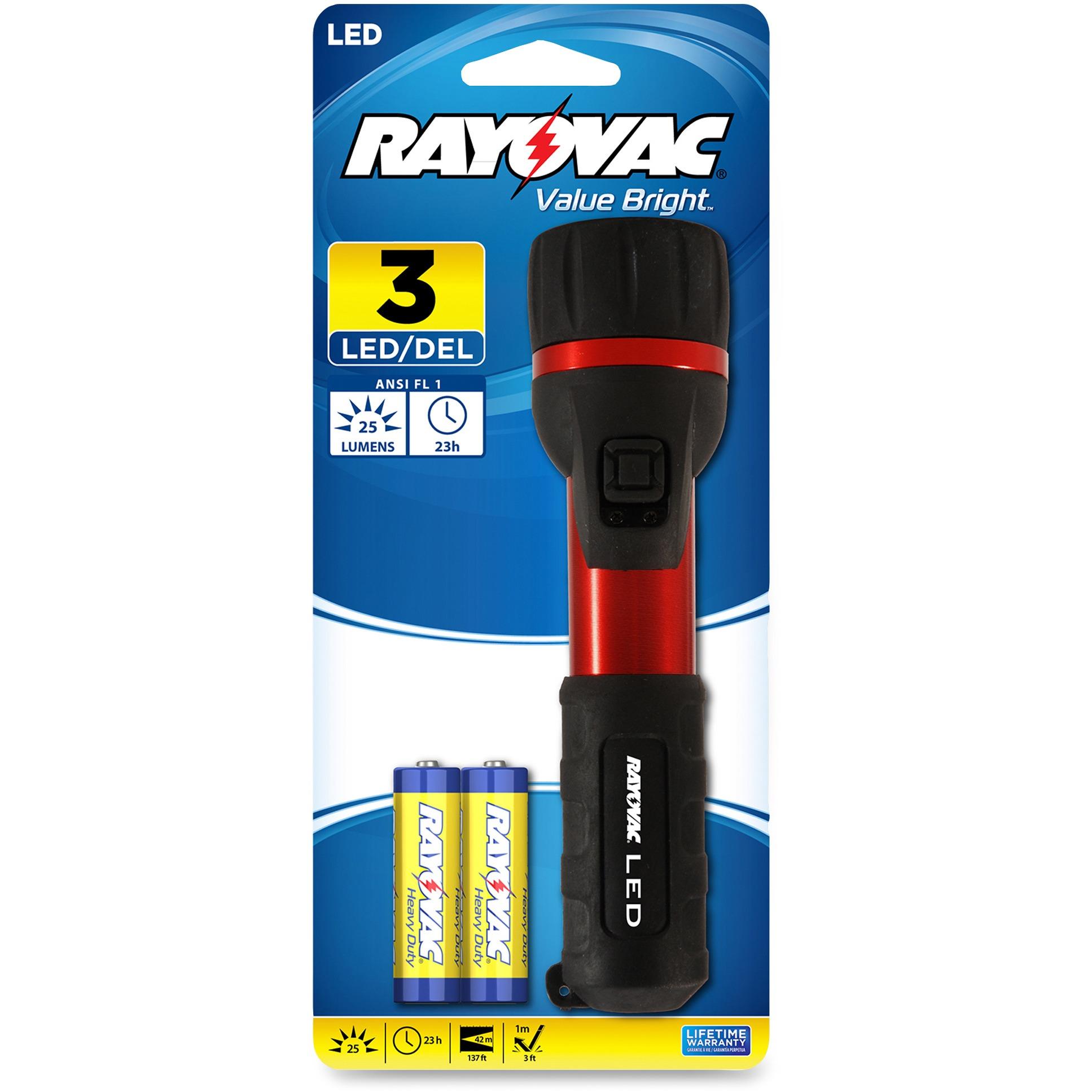 Rayovac 3 LED Flashlight 2 AA Batteries Included