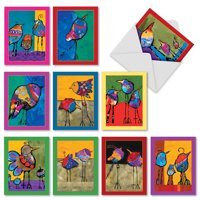 M3319 Bohemian Birds: 10 Assorted Blank Note Cards with Envelopes, The Best Card Company